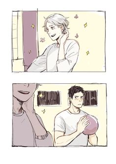 """badenlily: """" i wanted to draw suga being pretty and daichi being distracted """""""