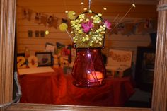Jars, lights and a touch of Color hanging around the gift table with Frames