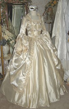 Brocade and Silk Marie Antoinette Gown with Bows