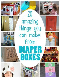 20 clever ways to reuse those sturdy boxes diapers come in (I love the vending machine and mailbox especially)