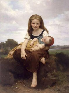 The Elder Sister  by  William Adolphe Bouguereau (1825 – 1905, French).   This is my favorite painting of all time. I have spent many enjoyable moments gazing at this huge painting as it hung in the galleries at MFA Houston. - jw