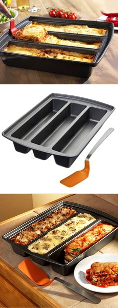 This looks so fun! Lasagna Trio Pan // Make three different types at once (vegetarian, classic, meat lovers.Or cook brownies with extra edges! Cool Kitchen Gadgets, Home Gadgets, Cooking Gadgets, Cooking Tools, Cool Kitchens, Cooking Recipes, Cooking Chips, Kid Cooking, Skillet Recipes