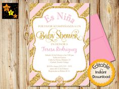 Spanish Baby Shower Invitation Pink And Gold Elephant Instant Editable
