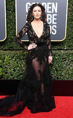 Catherine Zeta-Jones from 2018 Golden Globes Red Carpet Fashion  In Zuhair Murad