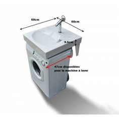 Space-saving washbasin, designed to be installed above a washing-machine. Maximum space-saving in a small bathroom ! Compact Bathroom, Tiny House Bathroom, Laundry In Bathroom, Small Bathroom, Dyi Bathroom, Bathroom Remodeling, Bathroom Flooring, Small Washing Machine, Small Laundry