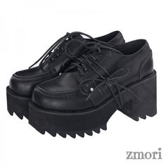 e8bdd488cb3d Black Old School Lace Up Oxfords Chunky High Heels Creepers Shoes