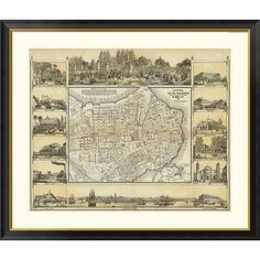 "Global Gallery Plano Pintoresco De La Habana, 1853 Framed Graphic Art Size: 34"" H x 40"" W x 1.5"" D"