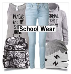 """""""School Style"""" by madeinmalaysia ❤ liked on Polyvore featuring Vera Bradley, Barts, New Balance, Frame Denim, black, Blue and grey"""