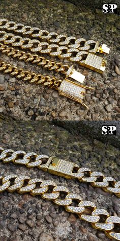 Mens Jewelry 10290: Hip Hop Lab Diamond Iced Out Miami Cuban Link Iced Lock Chain 2 Necklace Set -> BUY IT NOW ONLY: $23.74 on eBay!