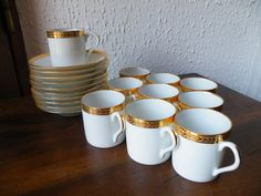 Set of 10 Very Elegant White Porcelain with Gold Detail Vintage French LIMOGES Espresso / Demitasse Cups and Saucers