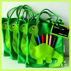 PREMIOS Dinosaur Birthday Party, 4th Birthday Parties, 3rd Birthday, Die Dinos Baby, Kids Bags, Goodie Bags, Party Time, Dinosaur Illustration, Activity Bags