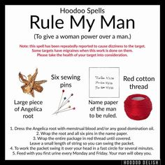 ~*~ HOODOO SPELLS: RULE MY MAN ~*~ I've been getting a lot of requests for straight up, simple domination work that a woman can do on her… Hoodoo Spells, Magick Spells, Pagan, Wiccan Witch, Wiccan Spell Book, Witch Spell, Witchcraft Spells For Beginners, Easy Love Spells, Luck Spells