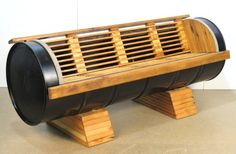 INDUSTRIAL DESIGN TEAK & STEEL DRUM PATIO BENCH
