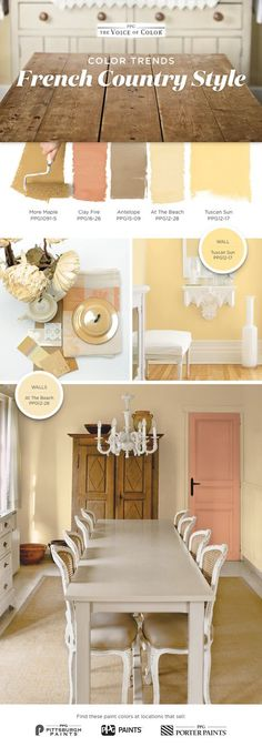 You don't need a getaway in Provence to feel that quaint French countryside cottage charm. Bring the French countryside to you with these cottage inspired hues recreating the sense of relaxed tranquility of rural life abroad. French Country Colors, French Country Kitchens, French Country Bedrooms, French Country House, Kitchen Country, Country Bathrooms, Country Paint Colors, French Style, Yellow Paint Colors