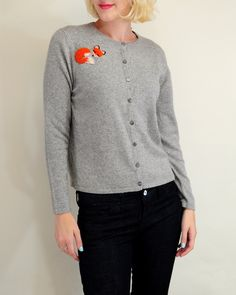 Fall is around the corner... Our Sleeping Fox #Cashmere Cardigan ($68) is available in size small here: http://www.nancysgonegreen.com/product/sleeping-fox-cashmere-cardigan-gray-s