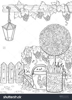stock-vector-vector-hand-drawn-adult-coloring-book-page-in-provence-style-with-flowers-vines-lamp-spring-in-396402847.jpg 1,155×1,600 pixeles