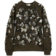 Lanvin Embellished cotton-jersey sweatshirt ($925) ❤ liked on Polyvore featuring tops, hoodies, sweatshirts, sweaters, lanvin, jumpers, long sleeved, army green, raglan sweatshirt and brown tops