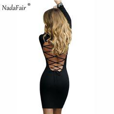 96ca65af $23.74 - Cool Nadafair Long Sleeve Stretchy Sexy Club Bandage Bodycon Dress  2017 Women Black Red
