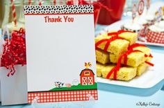 Barnyard Birthday Party Thank You Notes 5 x by KellysCottageShoppe, $3.50