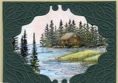 cabin, frame, scenic, cardsmasculin, paper crafts, stampscapes cards, photomoonlight cano
