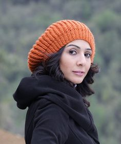Women Knit Hat in Pumpkin - orange, Winter Slouch Hat for Women, Knit Slouch beret Hat