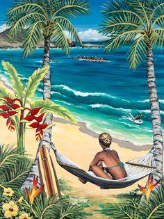 Hawaiian artist - Susanne Ball  I bought this print in Hawaii.  Doesnt the girl look like Sarah???