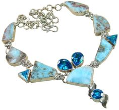 Stunning Necklace, 925 Sterling Silver Jewelry with Larimar, Blue Topaz Gemstones, 925 Sterling Silver Jewelry Setting with Natural Gemstone $331.20