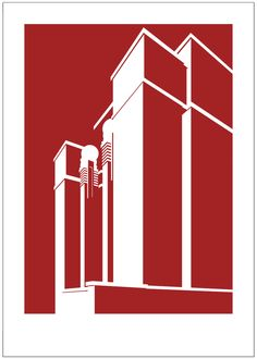 PrairieMod's series of graphic architectural illustration of the Larkin Administration building