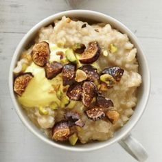 Pistachio, Fig, and Saffron Yogurt Oatmeal—a protein-packed way to start your morning | CookingLight.com