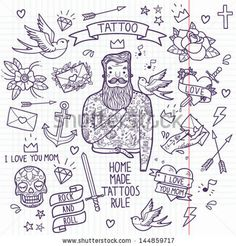 Tattoo vector set Cartoon tattoo elements in funny style anchor, dagger, skull, flower, star, heart, diamond, scull, swallow and cool bearded man Doodle in exercise book style