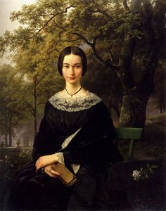 Portrait of A Young Lady (1846). Barend Cornelis Koekkoek (Dutch, 1803-1862). Oil on canvas laid down on board.