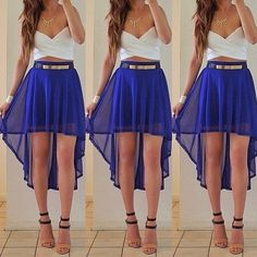 White and blue, High-low skirt with a crop top