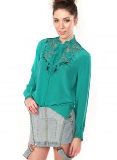 Aqua Silk Long Sleeve Blouse #lace #casual #cute #ustrendy