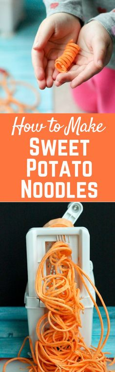 Learn how to make sweet potato noodles with this simple guide – it's so easy and a great fun way to eat more vegetables. Veggie Recipes, Whole Food Recipes, Diet Recipes, Healthy Recipes, Zoodle Recipes, Recipies, Sweet Potato Noodles, Veggie Noodles, Healthy Dishes