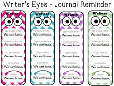 WRITER'S EYES CERTIFICATES AND BOOKMARKS - TeachersPayTeachers.com <<< to go with bulletin board