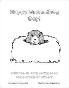 Groundhog Freebies - Printable Coloring Pages, door hangers, and more!