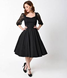 c305e16d506d15 1950s Style Black Three-Quarter Sleeve Lace Cotton Adrienne Swing Dress