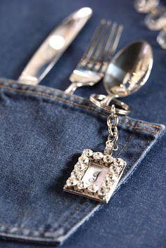 tv work : snapshots: Denim & Diamonds... denim patterend napkins with silver plastic flatware !!!