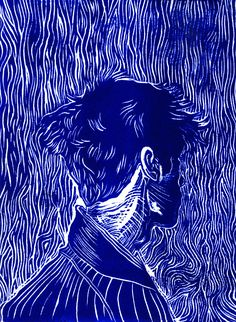 "Visceral Instinct (blue), linocut, 8""x12"""