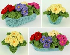 Primroses in pots crochet pattern by PlanetJune by ConnieRose