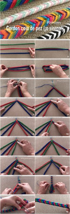 Cómo tejer un cordón cola de pez o sirena Mini video del paso a paso