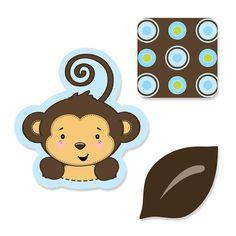 Monkey Boy - Shaped Baby Shower Paper Cut-Outs - BabyShowerStuff.com