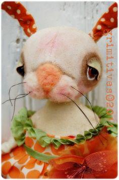 Apricot - Grimitive Folk Art Primitive Sweet Spring Easter doll... by doll artist Kaf Grimm of GRIMITIVES