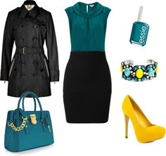 """""""Azul petroleo y amarillo"""" by ange-fs on Polyvore"""