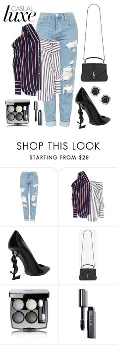 """""""Office Stripes Go Chic"""" by marquaysab ❤ liked on Polyvore featuring Topshop, Monse, Yves Saint Laurent, Chanel, Bobbi Brown Cosmetics and Mark Broumand"""