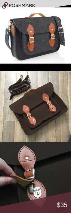 "BROWN Felt Messenger Bag BRAND NEW. First photo is a stock photo. The rest are of the item itself. Still in the original box. Large enough to fit a MacBook (15"") and a few books comfortably in the larger pocket. Includes shoulder strap. 🍂 bundle 3 or more items for 10% off your total! I also offer some private discounts as well. Check out my closet for more deals. Bags Laptop Bags"