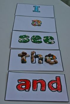 decorate your sight words with beans, cake decorations, cherrios and other fun foods!