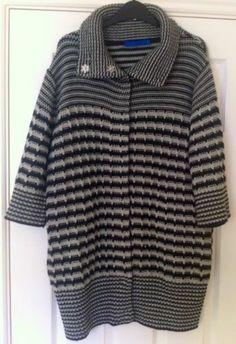 New - Womens Next Chunky Knit Grey Striped Cardigan Jumper Size 12/14 - £10.00
