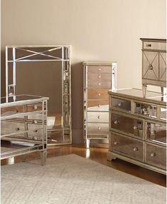 30 Elegant Photo of Mirrored Bedroom Furniture . Mirrored Bedroom Furniture Marais Mirrored Furniture Collection In 2018 ReflectionsAn antique finish for a fresh start. Redesign your home with this royal, refined collection, which features inset mirr Mirrored Bedroom Furniture Sets, Mirrored Nightstand, Dresser With Mirror, Bedroom Sets, Home Decor Bedroom, Mirror Bedroom, Nightstand Ideas, Dresser Sets, Queen Bedroom