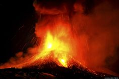 Mount Etna, Europe's most active volcano, spews lava during an eruption